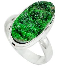 Natural green grass garnet 925 sterling silver ring jewelry size 7 d29161