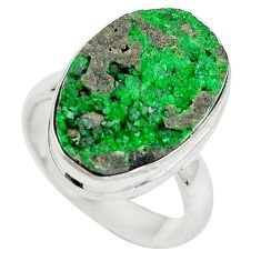 Natural green grass garnet 925 sterling silver ring jewelry size 6 d29163