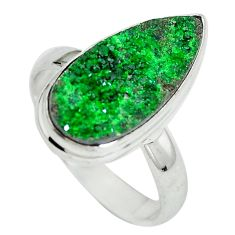 Natural green grass garnet pear 925 sterling silver ring size 9 d29165