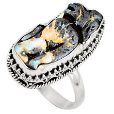 Natural brown boulder opal carving 925 silver ring jewelry size 8.5 d29166