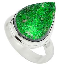 Clearance Sale- Natural green grass garnet 925 sterling silver ring jewelry size 6 d29168