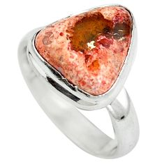 Natural multi color mexican fire opal 925 silver ring jewelry size 7 d29169