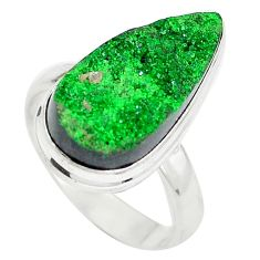 925 sterling silver natural green grass garnet pear ring size 8 d29170