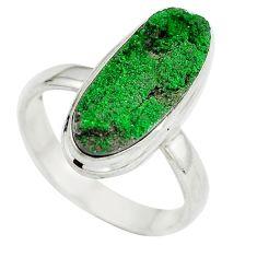 Natural green grass garnet 925 sterling silver ring size 9 d29176