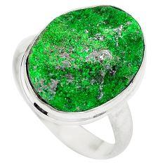 Natural green grass garnet 925 sterling silver ring size 8 d29177