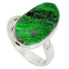 Natural green grass garnet 925 sterling silver ring size 8 d29180