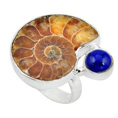 Clearance Sale- 925 silver natural brown ammonite fossil ring jewelry size 9.5 d29192