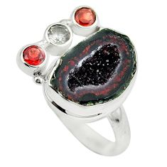 Clearance Sale- Natural brown geode druzy topaz 925 sterling silver ring size 7 d29194