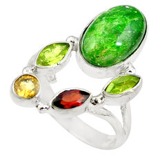 Clearance Sale- Natural green chrome diopside yellow citrine 925 silver ring size 8 d29202