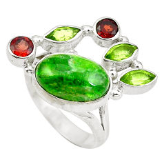 Clearance Sale- Natural green chrome diopside red garnet 925 silver ring size 6 d29203
