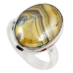 Natural yellow schalenblende polen oval 925 silver ring size 8.5 d29208