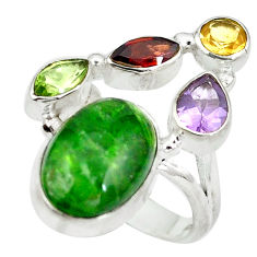 Clearance Sale- Natural green chrome diopside yellow citrine 925 silver ring size 4.5 d29242