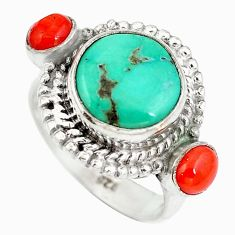 Clearance Sale- Natural green turquoise tibetan red coral 925 silver ring size 5.5 d29252