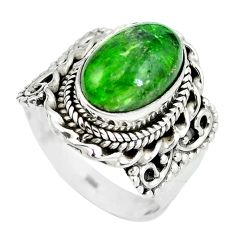 Clearance Sale- Natural green chrome diopside 925 sterling silver ring size 7 d29255