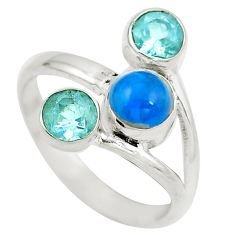 Natural blue apatite (madagascar) topaz 925 silver ring size 7.5 d29262