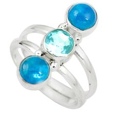 Natural blue apatite (madagascar) topaz 925 silver ring size 7.5 d29265