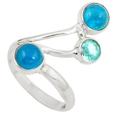 Natural blue apatite (madagascar) topaz 925 silver ring size 7.5 d29268