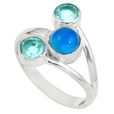 Natural blue apatite (madagascar) topaz 925 silver ring size 7.5 d29273