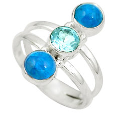 Natural blue apatite (madagascar) topaz 925 silver ring size 8.5 d29275
