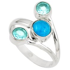 Natural blue apatite (madagascar) topaz 925 silver ring size 8 d29278