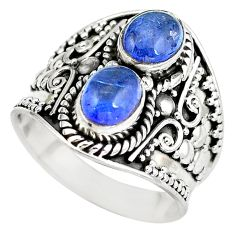 Natural blue tanzanite 925 sterling silver ring jewelry size 8 d29293