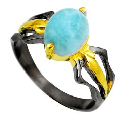 Clearance Sale- Natural blue larimar rhodium 925 sterling silver ring jewelry size 7.5 d29301