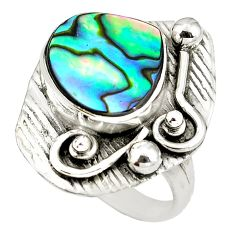 Natural green abalone paua seashell 925 silver ring jewelry size 8 d29321