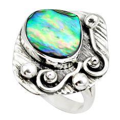 Natural green abalone paua seashell 925 silver ring size 8.5 d29332