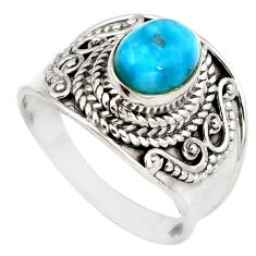 Natural blue larimar 925 sterling silver ring jewelry size 6 d29333