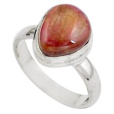 Natural pink bio tourmaline 925 sterling silver ring jewelry size 7 d29338