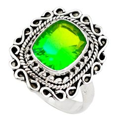 Green tourmaline (lab) 925 sterling silver ring jewelry size 7 d29347