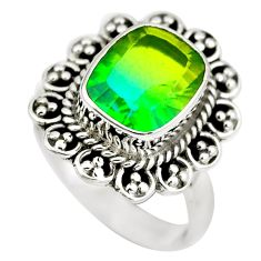 Green tourmaline (lab) 925 sterling silver ring jewelry size 7 d29348