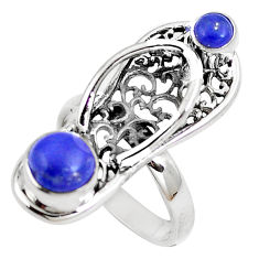 Clearance Sale- Natural blue lapis lazuli 925 silver slipper charm ring ring size 6 d30441