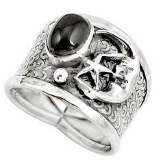 Natural rainbow obsidian eye 925 silver crescent moon star ring size 6.5 d30461