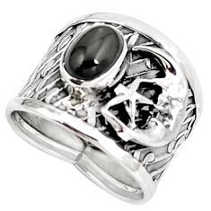 925 silver natural rainbow obsidian eye crescent moon star ring size 6 d30466
