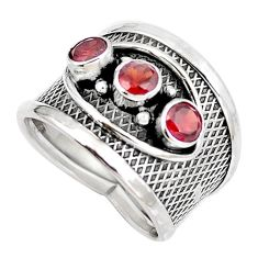 925 sterling silver natural red garnet round ring jewelry size 6.5 d30468