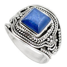 Clearance Sale- 925 sterling silver natural blue kyanite square ring jewelry size 7.5 d30473