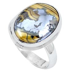 Natural yellow schalenblende polen 925 silver ring size 7.5 d30483