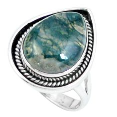 Natural green moss agate 925 sterling silver ring jewelry size 7.5 d30491
