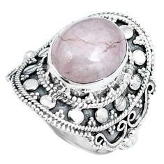 Natural pink morganite 925 sterling silver ring jewelry size 6.5 d30493