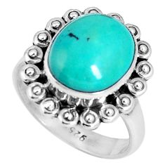 Clearance Sale- Natural green turquoise tibetan 925 sterling silver ring size 7 d30510