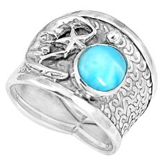 Natural blue larimar 925 silver crescent moon star ring size 6.5 d30516
