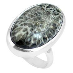 Natural black stingray coral from alaska 925 silver ring size 6 d30519