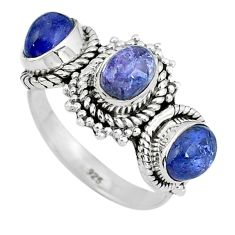Natural blue tanzanite 925 sterling silver ring jewelry size 7.5 d30550