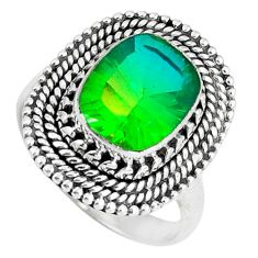 Clearance Sale- Green tourmaline (lab) 925 sterling silver ring jewelry size 7 d30562