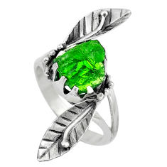 Clearance Sale- Green chrome diopside rough 925 sterling silver ring size 7.5 d30586
