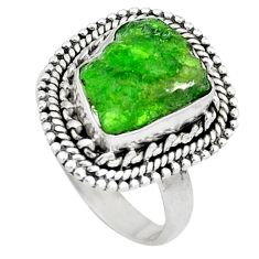 Clearance Sale- Green chrome diopside rough 925 sterling silver ring size 6.5 d30590