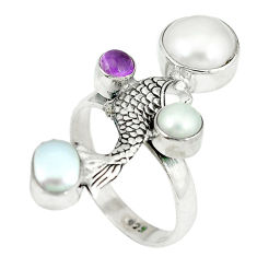 Clearance Sale- arl purple amethyst 925 sterling silver fish ring size 8 d4158