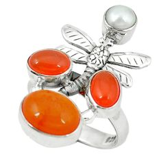 Clearance Sale- Natural orange cornelian (carnelian) 925 silver dragonfly ring size 7 d4173