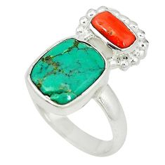 Clearance Sale- Natural green turquoise tibetan red coral 925 silver ring size 7 d4201